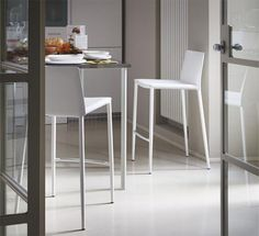 Calligaris Boheme Bar Stool in Metal and Reg Leather in Various Colours