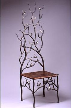 """wow...such talent...""""Spring's Throne"""" a chair designed and executed by Timothy Miller. ~ Hammer textured copper seat with flame patina. The leaves on the branches are hand forged from white bronze http://www.spiritironworks.com/furniture_gallery.html"""