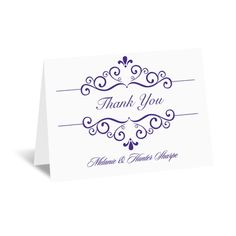 A swirling design surrounds 'Thank You' and your wording in fairy-tale style on this note card. Your wording is printed in your choice of ink color and lettering style. The design is printed in the same ink color you choose for your wording for a custom look. This product features thermography printing, an affordable printing process that results in raised lettering.