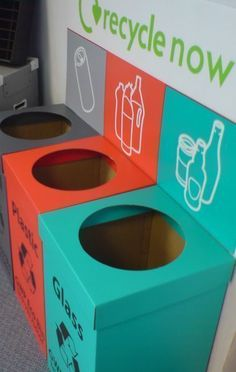 Corrugated packaging, including stock or custom cardboard boxes, cartons, POS & much more, are designed and manufactured in house by GWP Packaging. Cardboard Recycling Bins, Recycling Storage, Recycling Facts, Recycling Center, Green School, Trash Bins, Packaging, Street Furniture, Furniture Buyers