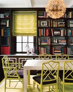 dining rooms, happy chic, dine room, painted chairs, faux bamboo, librari, wall shelves, study rooms, jonathan adler