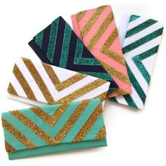 The Glitter Chevron clutch in gold and coral by ao3designs on Etsy- love the teal and gold one!! must have