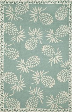 Cargo Pineapple Aqua Rug from the Outdoor Rugs collection at Modern Area Rugs Tropical Decor, Coastal Decor, Coastal Living, Aqua Rug, Hawaiian Decor, British Colonial Style, Beach Cottage Style, Duck Egg Blue, Outdoor Rugs