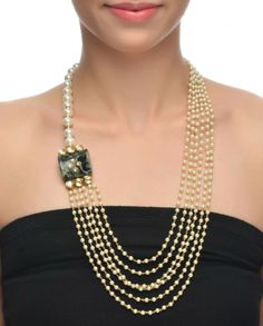 Asymmetrical Pearl Necklace #Jewelry #Fashion #New #Stones #Studded #Ethnic #Indian #Traditional