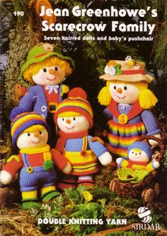 Items similar to Jean Greenhowes Scarecrow Family-Seven knitted dolls and babys pushchair on Etsy Knitting Wool, Double Knitting, Wool Yarn, Wool Felting, Knitting Kits, Vintage Knitting, Free Knitting, Easy Knitting Patterns, Doll Patterns