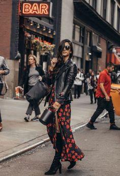 Looks com Vestido Inverno 2019 - Dicas de como usar vestido no inverno com bota, com casaco ou com jaqueta. Indie Outfits, Casual Fall Outfits, Fashion Outfits, Dress Fashion, Moda Rock, Leather Jacket Outfits, Boho Fashion, Womens Fashion, Style Fashion