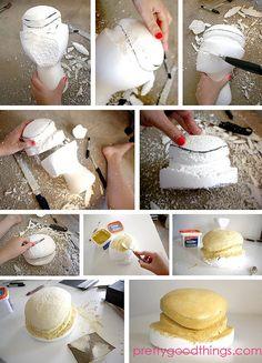 carving styrofoam block by Mary P. from Pretty Good Things, via Flickr #millinery #judithm #hatblockdiy