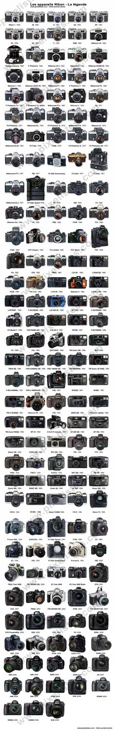 Collection of Nikon camera bodies
