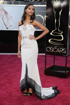 Zoe Saldana in Alexis Maybille at Oscars 2013