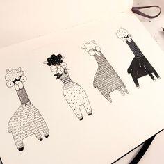 ALPACAS - @hee_cookingdiary on Instagram - Alpaca! #drawing #doodling #sketchbook #alpaca #moleskine
