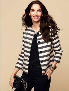 Talbots - Cabana-Stripe Jacket | Jackets and Outerwear | Petites