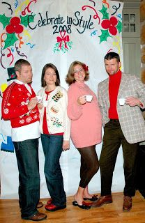 Ugly Christmas sweater party...I really want to do this!!!  Looks like it would be so much fun.