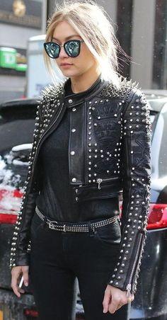 Custom leather jacket with silver spikes worn by GiGi Hadid.
