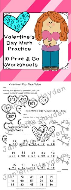Valentine's Day Math Print and Go Worksheets is exactly what you need for extra practice. This covers 6 Common Core Standards for grades 1, 2 and 3. There are 10 worksheets all with a Valentine's Day theme.