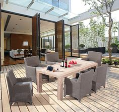 Outdoor dining collection on a modern deck