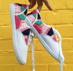 Hand embroidered SNEAKERS - One of a kind & no two pairs the same!