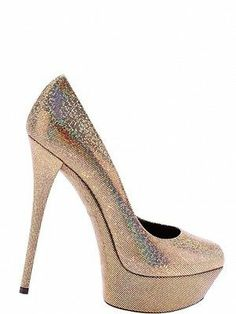 Women's Shoes Heels CASADEI Leather Sadè Gold Glitter Plateau Luxury Limited Ne £272.00