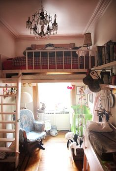 Cozy & Rustic Loft Spaces - (Oh yes, that's a ladder to a door in the middle of the wall. Tiny Spaces, Loft Spaces, Small Rooms, Loft Apartments, Adult Loft Bed, Adult Bunk Beds, Bunk Bed Designs, Small Bedroom Designs, Bedroom Small