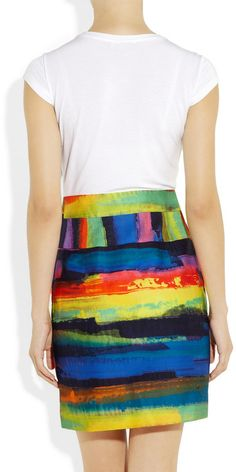 Milly Claire Printedskirt Cottonblend Dress in Multicolor (white)