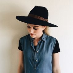 Anthropologie Rancher Hat Anthropologie navy blue rancher felt hat! Worn once--little sign of wear. Anthropologie Accessories Hats