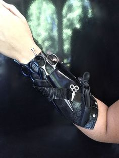 Salon Armor® Gauntlet for hair tools. Patent pending Salon Armor® Gauntlet for hair tools. Leather Bracers, Leather Tooling, Body Peeling, Barber Apron, Hair Salon Interior, Barber Shop Decor, Barbershop Design, Design Salon, Cosplay