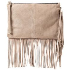 Mango Fringed Suede Clutch Handbag (£30) ❤ liked on Polyvore featuring bags, handbags, clutches, purses, light beige, fringe clutches, fringe handbags, evening handbags, suede fringe purse and man bag