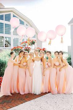 A balloon for each bridesmaid / http://www.himisspuff.com/bridesmaid-dress-ideas/