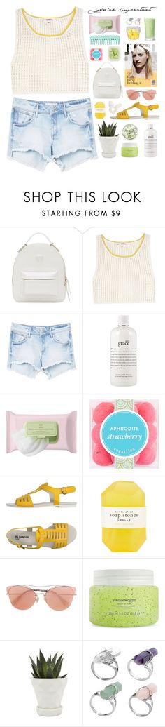 """Sin título #2631"" by liliblue ❤ liked on Polyvore featuring Versace, Lemlem, MANGO, philosophy, Pixi, sugarfina, Jil Sander Navy, Pelle, Miu Miu and Chive"