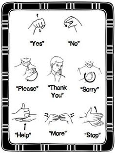 A sign language is a complete and comprehensive language of its own. It is not just some gestures which are random and used to convey a meaning. Sign language also has a set of grammar rules to go by. This language is mainly used by p Sms Language, Sign Language Phrases, Language Lessons, Baby Sign Language Chart, Sign Language For Toddlers, Alphabet In Sign Language, Simple Sign Language, Learn Sign Language Free, Sign Language For More
