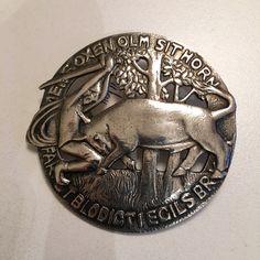 Gustav Gaudernack design for own workshop. Silver brooch with motif from viking saga. Silver Brooch, Enamel Jewelry, Saga, Vikings, Norway, Workshop, Models, Design, Role Models