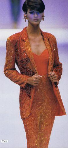 Genny show s/s 1992 feat Linda Evangelista