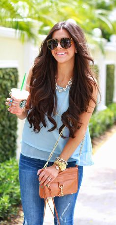 Love the color of this layered chiffon top