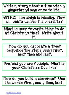 christmas writing and link to blog with other christmas resources christmas writing prompts
