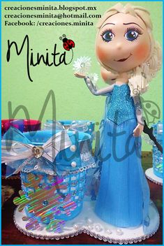 Centro de mesa Frozen- fofucha Elsa