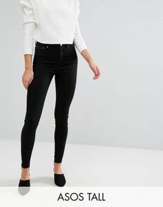 ab9bbad6c08 ASOS DESIGN Tall Ridley high waist skinny jeans in clean black Tall Jeans