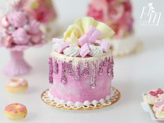 Pink and White Chocolate Drip Cake with Cream - 12th Scale Miniature Food (Pink Collection 2016)