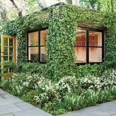 Superb Garden Shed Office Conversion This Lush Green Backyard Garden Office Shed… - Garden Shed Garden Office Shed, Backyard Office, Backyard Studio, Backyard Sheds, Backyard Landscaping, Outdoor Sheds, Landscaping Ideas, Outdoor Office, Cozy Backyard