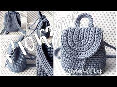 Crochet A Backpack Free Tutorial - Crochetopedia Crochet Storage, Crochet Diy, Crochet Crafts, Crochet Projects, Crochet Backpack Pattern, Crochet Purse Patterns, Bag Pattern Free, Crochet Handbags, Crochet Purses
