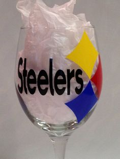 Pittsburgh Steelers Wine Glass on Etsy, $12.00