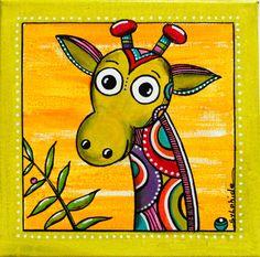 """Tableau de """"Lao"""" la girafe au long cou colorée"""