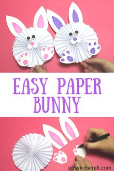 Learn how to make this Concertina Paper Bunny with 6 easy steps. You'll just need a single sheet of paper and then some pretty craft elements to use for decorations. And this Concertina Paper Bunny is a great Easter craft idea for pre-schoolers. Easter Art, Easter Projects, Bunny Crafts, Easter Crafts For Kids, Toddler Crafts, Easter Eggs, Easter Table, Spring Crafts, Holiday Crafts