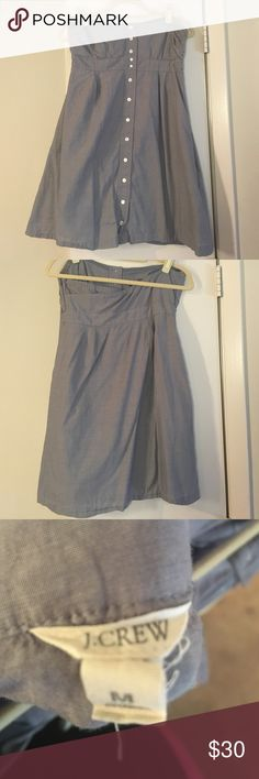 Chambray dress size Medium Strapless chambray dress size Medium.  Button up front. Only worn once. Fitted in the wait with a subtle sweetheart neckline, flowing throughout body of the dress. J. Crew Dresses Strapless