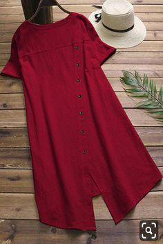 Summer Crew Neck Casual Solid Color Plus Size Dress Short Kurti Designs, Simple Kurti Designs, Stylish Dress Designs, Kurta Designs Women, Blouse Designs, Stylish Dresses, Red Kurti Design, Kurta Neck Design, Indian Fashion Dresses