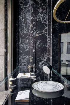 The Power of Ten: the by Yatzer' Pop-Up Shop at Milan Design Week 2016 Black Marble Bathroom, Marble Bathroom Accessories, Exterior Design, Interior And Exterior, Wall Cladding, Stone Cladding, Dark Interiors, Pendant Light Fixtures, Dream Bathrooms