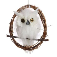 "RAZ Flat White Feathered Owl Christmas Decoration  White Made of Feather/Polyfoam Measures 6"" Single Sided  From the ""Forest Frost"" collection of RAZ Imports"