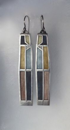 Crossroads Earrings No. 422 by Carly Wright: Enameled Earrings available at www.artfulhome.com