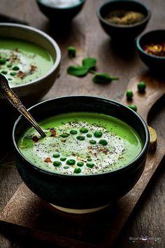 Gebratener Knoblauch Grüne Erbsen-Suppe - Binjal der VEG Küche