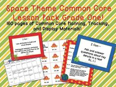 Space Theme Grade One Common Core Lesson Planning Pack    This lesson pack contains everything you will need to teach, track, and display the Common Core State Standards for Grade One! With 160 pages!  $5.99  http://www.theorganizedclassroomblog.com/index.php/ocb-store/view_document/257-space-theme-grade-one-common-core-lesson-planning-pack