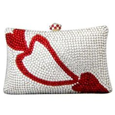 Heart Shape Swarovski Crystals Clutch Purse handbag, Crystal Evening Bag