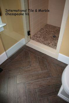 Wood grain porcelain floor tile